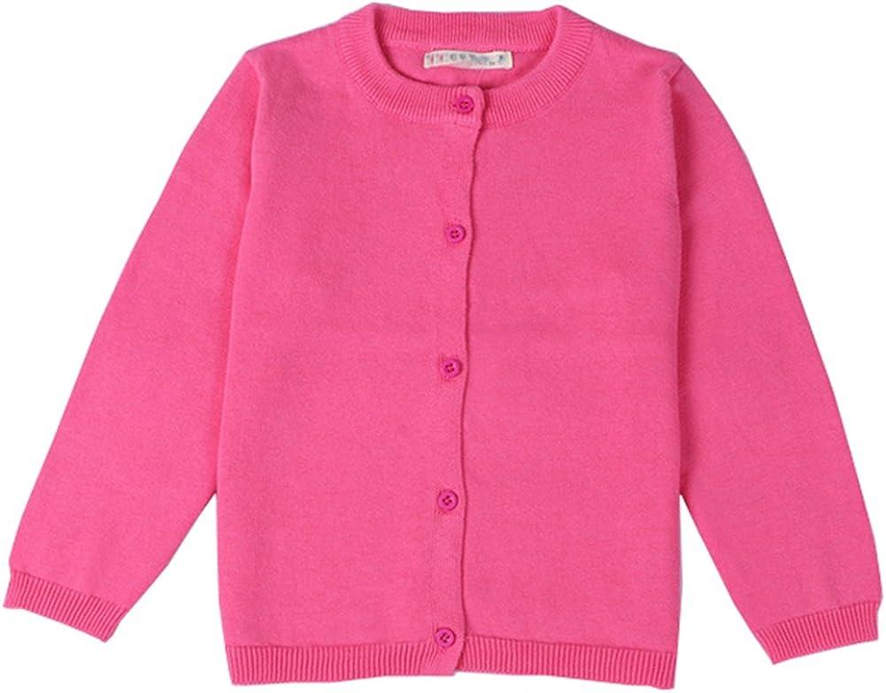 RJXDLT Girls Crewneck Cardigan Long Sleeve Children Button Cotton Sweater Uniform Sweaters for Little Girls: Clothing