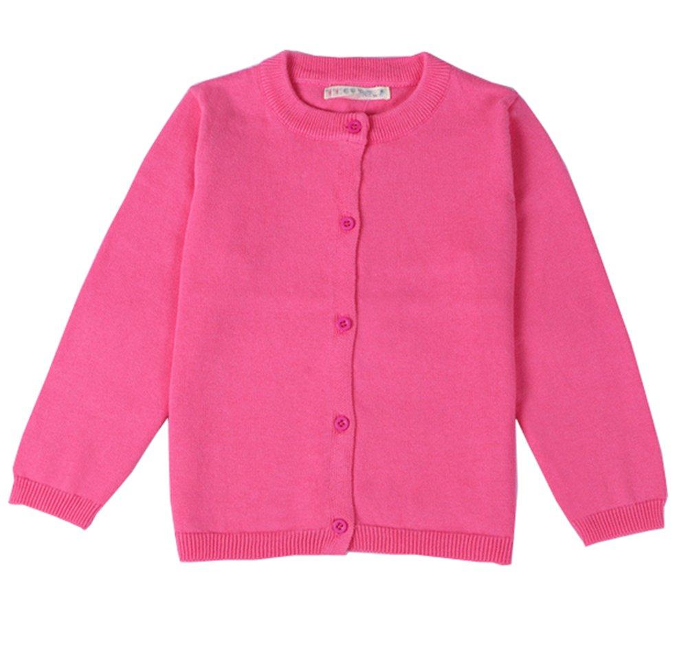 RJXDLT Girls Crewneck Cardigan Long Sleeve Children Button Cotton Sweater Uniform Sweaters for Little Girls (2T, Rose)
