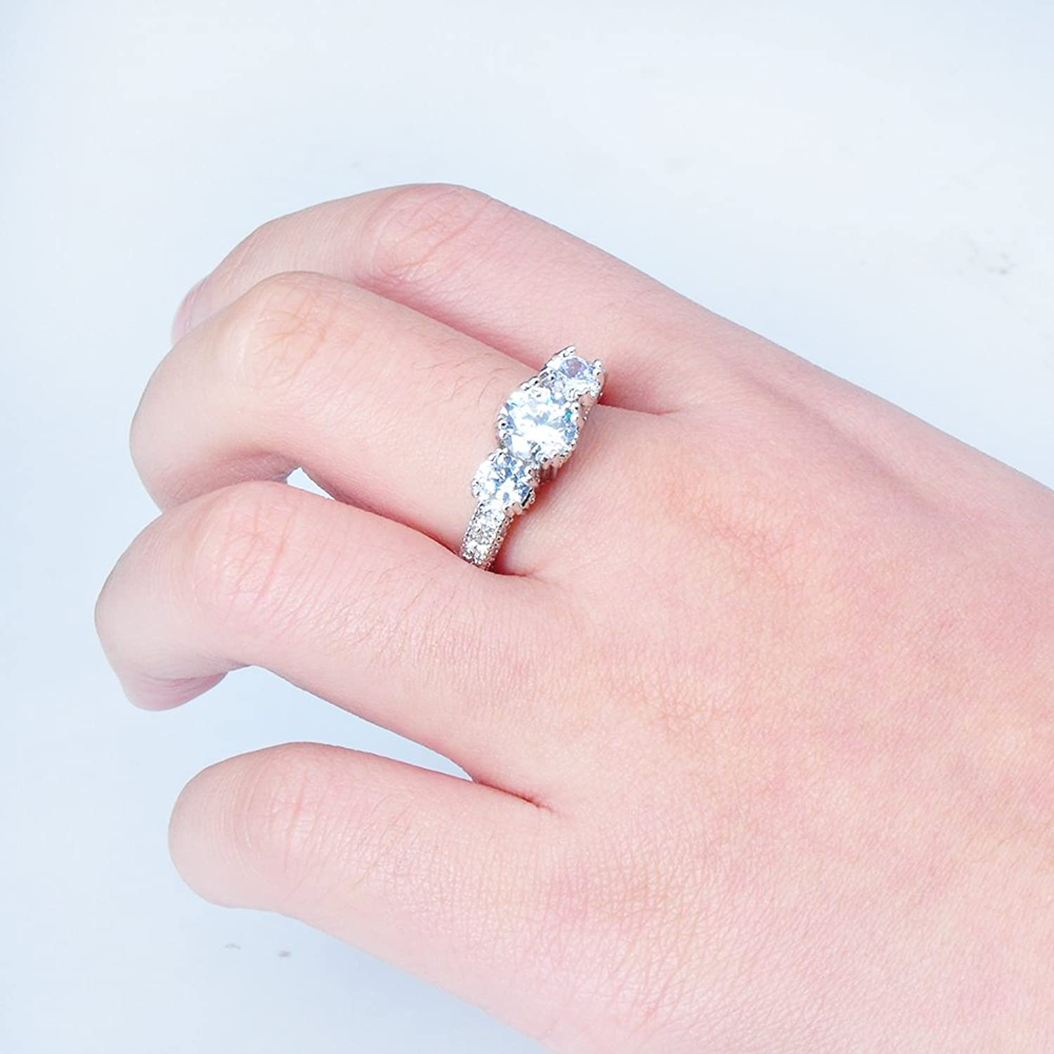 Amazon.com: Rongxing Jewelry 925 Promise Silver Ring Women\'s White ...