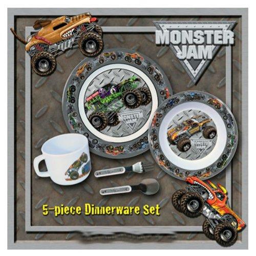 hot wheels Monster Jam 5 Piece Dinnerware Set plate set gift -