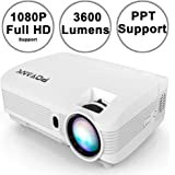"POYANK WXGA 3600Lumens LCD Projector Full HD 1080P Support, Native 720P Compatible with HDMI, USB, SD/TF Card, AV, TV Box, 200"" Large Display for Home Entertainment, PPT Presentations (White)"