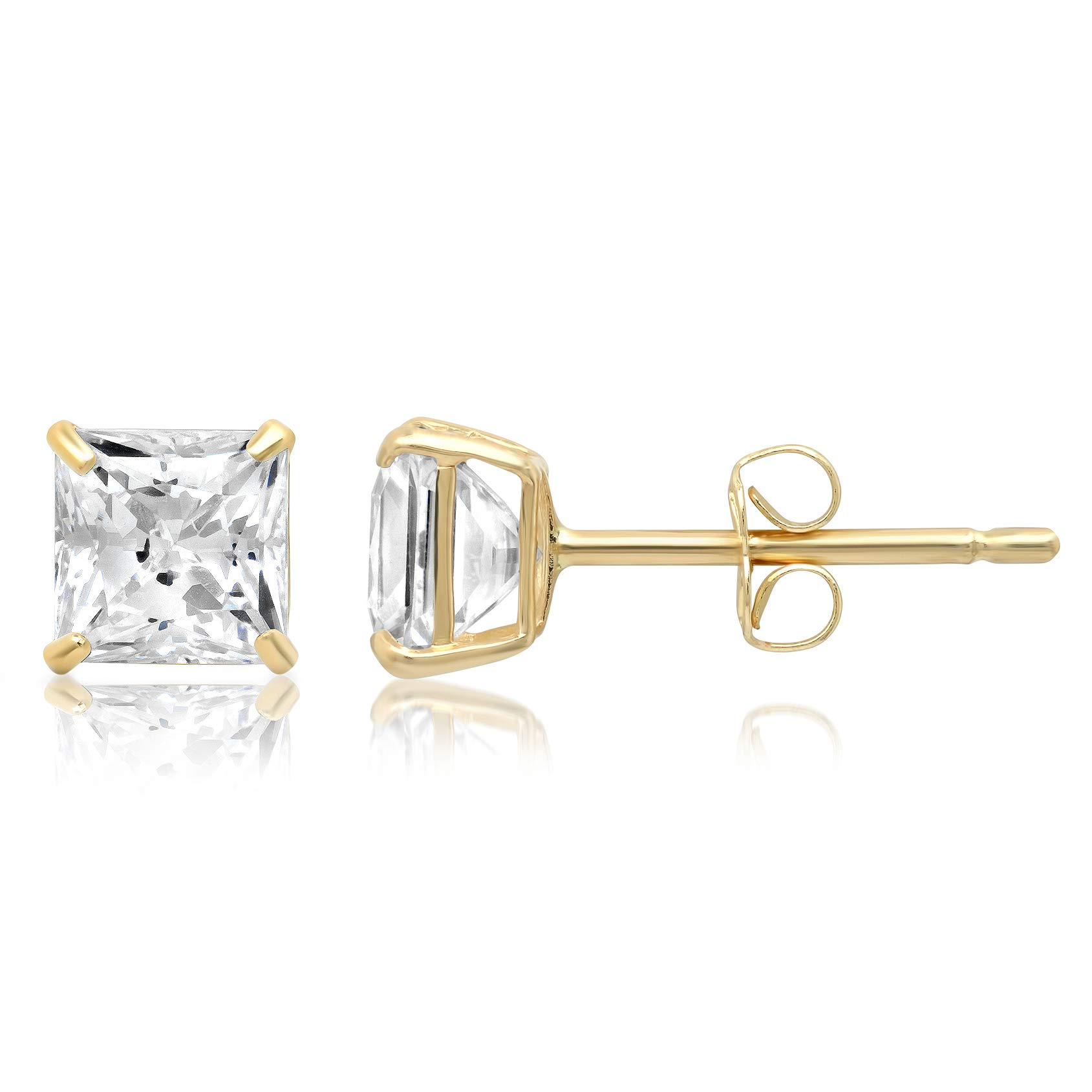 14k Solid Yellow Gold PRINCESS Stud Earrings with Genuine Swarovski Zirconia | 1.5 CT.TW. | With Gift Box by Parade of Jewels (Image #2)