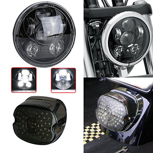 (Harley 5.75 Led Headlight High Low Beam with Low Profile Smoked Tail Light with Brake Turn Signalfor Harley Dyna Sportster 1200)