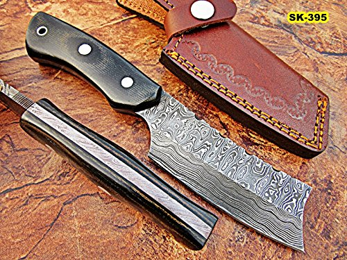 (Poshland SK-395, Custom Handmade Full Tang Damascus Steel Skinner Knife - Beautiful Black Brown Canvas Micarta Handle)