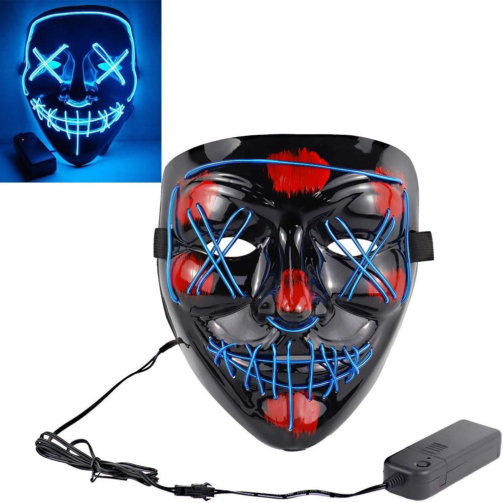 LED Costume Mask, Halloween Mask LED Light Up Purge Mask for Festival Cosplay (Ice Blue Mask) by JPF