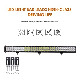 Auxbeam LED Light Bar 30 Inch LED Bar 198W Combo 66pcs 3W Led Chips Driving Light Waterproof for Off-Road Truck 4x4 Military Mining Boating Farming and Heavy Equipment