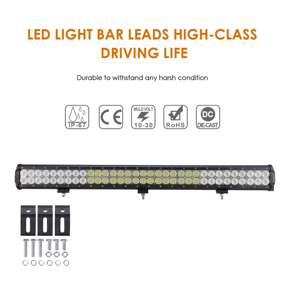 Auxbeam LED Light Bar 30 Inch LED Bar 198W Combo 66pcs 3W Led Chips Driving Light Waterproof for Off-Road Truck 4x4 Military Mining Boating Farming and Heavy Equipment by Auxbeam (Image #1)