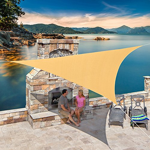 diig Outdoor Sun Shade Sail Canopy, 12' x 12' x 12' Triangle Shade Cloth Patio Cover - UV Resistant Sunshade Fabric Awning Shelter for Backyard Deck Carport Balcony (Sand Color) ()