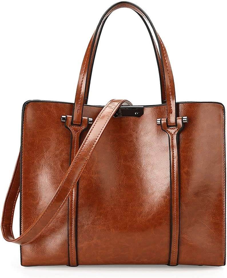 Liweibao Womens Ladies Leather Top Handle Shoulder Crossbody Bag with A Removable Strap for Working Dating Daily Color : Brown, Size : Free Size