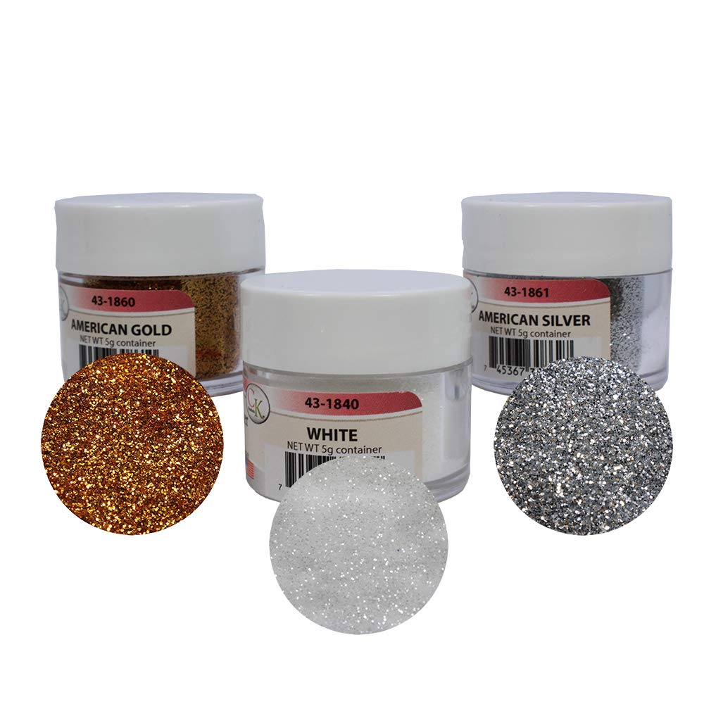 Techno Glitter - 3-Color Assortment: White, American Gold & American Silver