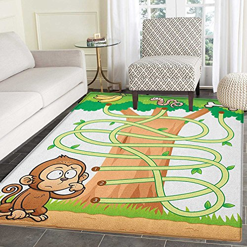 Kids Activity Rugs for Bedroom Curious Monkey Trying to Reach The Banana Maze Design Pathway Funky Forest Circle Rugs for Living Room 2'x3' ()