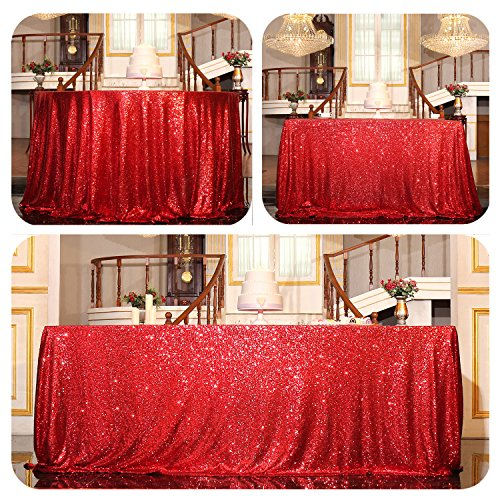 PartyDelight Sequin Tablecloth, Christmas Wedding Party Decor Table Topper, Rectangular, 60