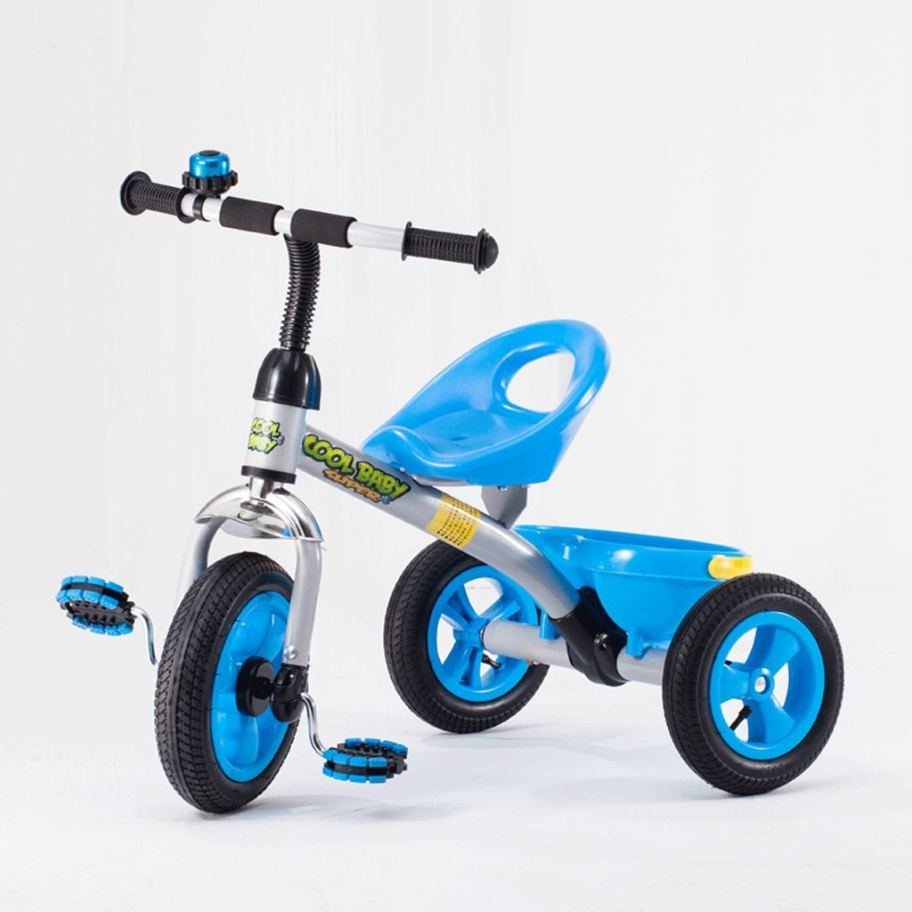 子供の三輪車3-6歳のベビーベビーカーのおもちゃの車の自転車無料のインフレータブルキッズバイク (色 : 青) B07D8QK9CP 青 青
