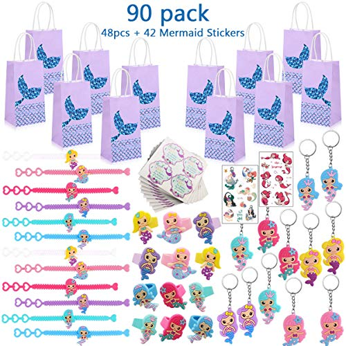 90 Pack Mermaid Party Favors Supplies,Mermaid Bracelet Ring Keychains Tattoos Gift Bags Paper Bags Labels Stickers Mermaid Accessories Kit for 12 Guests Kids Girls Birthday Novel Gifts Toys