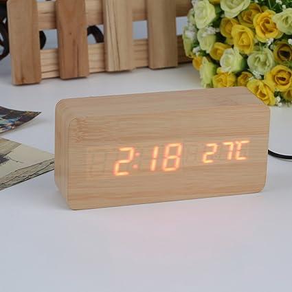 Cunclock LED de alarma de gran tamaño de madera con termómetro relojes Relojes de mesa rectangulares