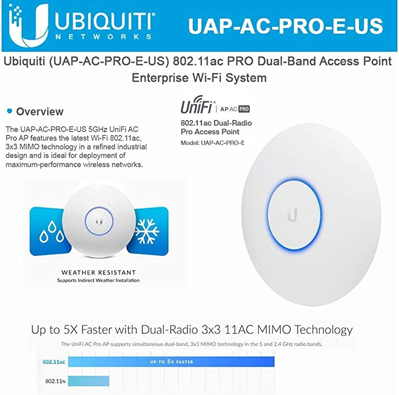 Ubiquiti UniFi AP AC PRO 802.11ac Scalable Enterprise Wi-Fi Access Point (UAP-AC-PRO-E-US) PoE Adapter Sold Separately