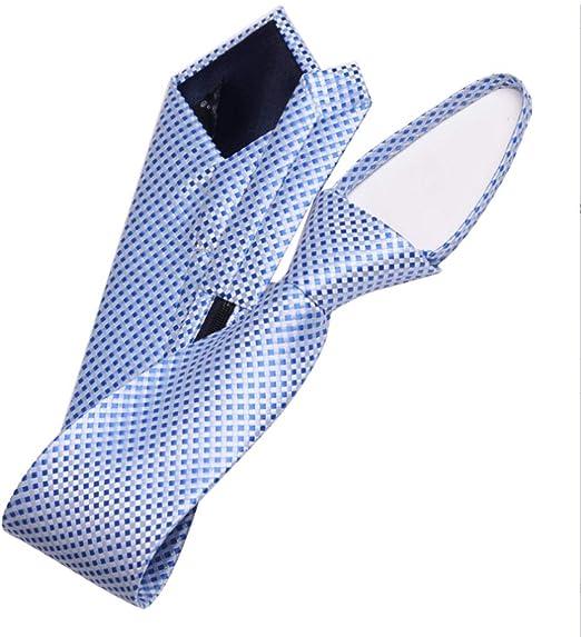 YXN Lazy Zip Corbatas/Corbatas para Hombre/Patrón a Cuadros Azul ...