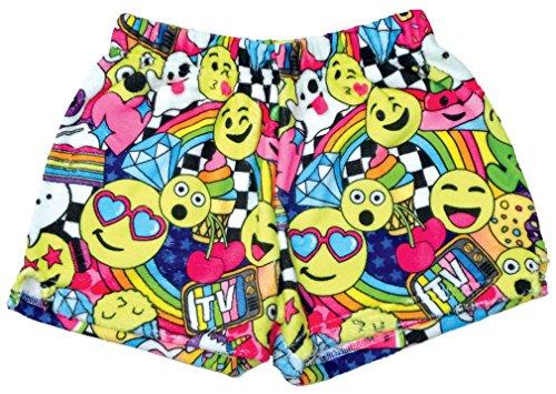 - iscream Big Girls Silky Soft Print Plush Shorts - Emoji Party, Large (14)