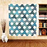 Gzhihine Custom tapestry Geometric Decor Collection Islamic Tiles Mosaic Pattern Antique Cultural Eastern Hexagon Shape Image Bedroom Living Room Dorm Tapestry Blue Teal White