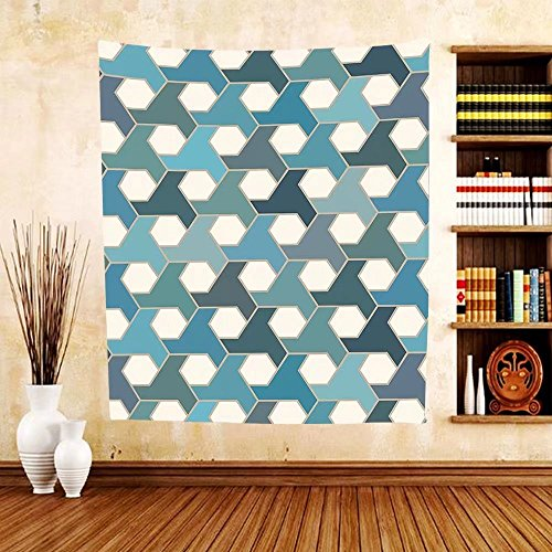 Gzhihine Custom tapestry Geometric Decor Collection Islamic Tiles Mosaic Pattern Antique Cultural Eastern Hexagon Shape Image Bedroom Living Room Dorm Tapestry Blue Teal White by Gzhihine