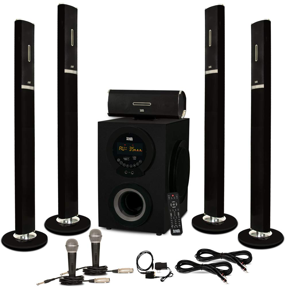 Acoustic Audio AAT3002 Tower 5.1 Bluetooth Speaker System with Optical Input Mics and 2 Extension Cables