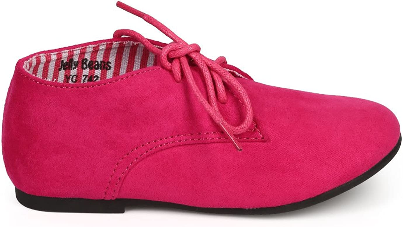 Suede Round Toe Lace Up Classic Ankle Oxford Flat Toddler//Little Girl//Big Girl DG66