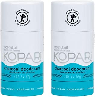 product image for Kopari Aluminum Free Mens Charcoal Coconut Deodorant Stick | Made with Organic Coconut Oil | Non Toxic, Paraben Free, Plant Based, Gluten Free & Cruelty Free Long Lasting Natural Deodorant | 2 Pack, 2.0 oz