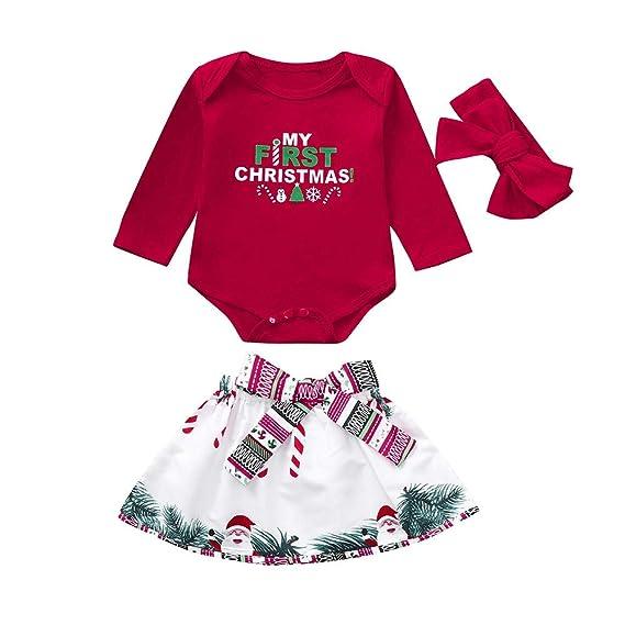 Ropa Navidad Disfraz Niña Bebe Fossen Recién Nacido Bebé my First Christmas Monos Tops + Falda Corta Patrón de Árbol de Navidad y Santa Claus + ...