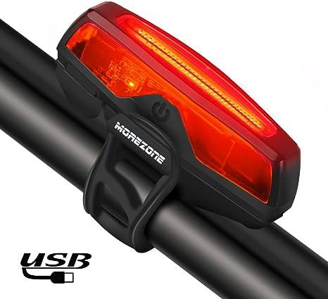 MOREZONE - Luces traseras para bicicleta, recargables por USB, 5 ...