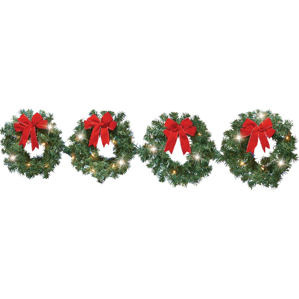 Lighted Christmas Evergreen Wreaths - Set of 4 Collections Etc