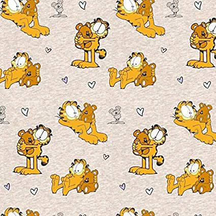 Stoffbreite Garfield Gatos Beige Oso Naranja Beige Arena Crema Jaspeado – Jersey biostoff biojersey – 145
