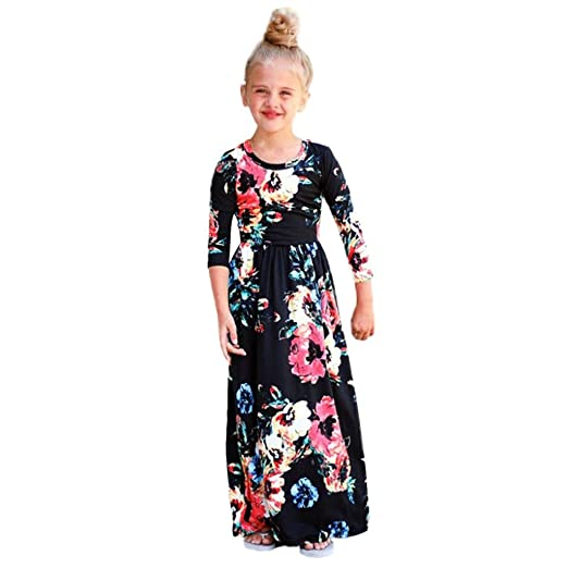 f7d8c17b8220 G&Kshop Dress Girls Boho Long Sleeve Round Neck Floral Printed Holiday Maxi  Dress (1 Year