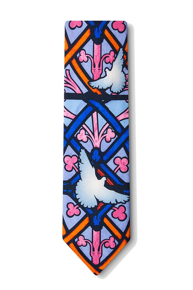 Men's 100% Silk Peace White Dove Stained Glass Necktie Tie Neckwear