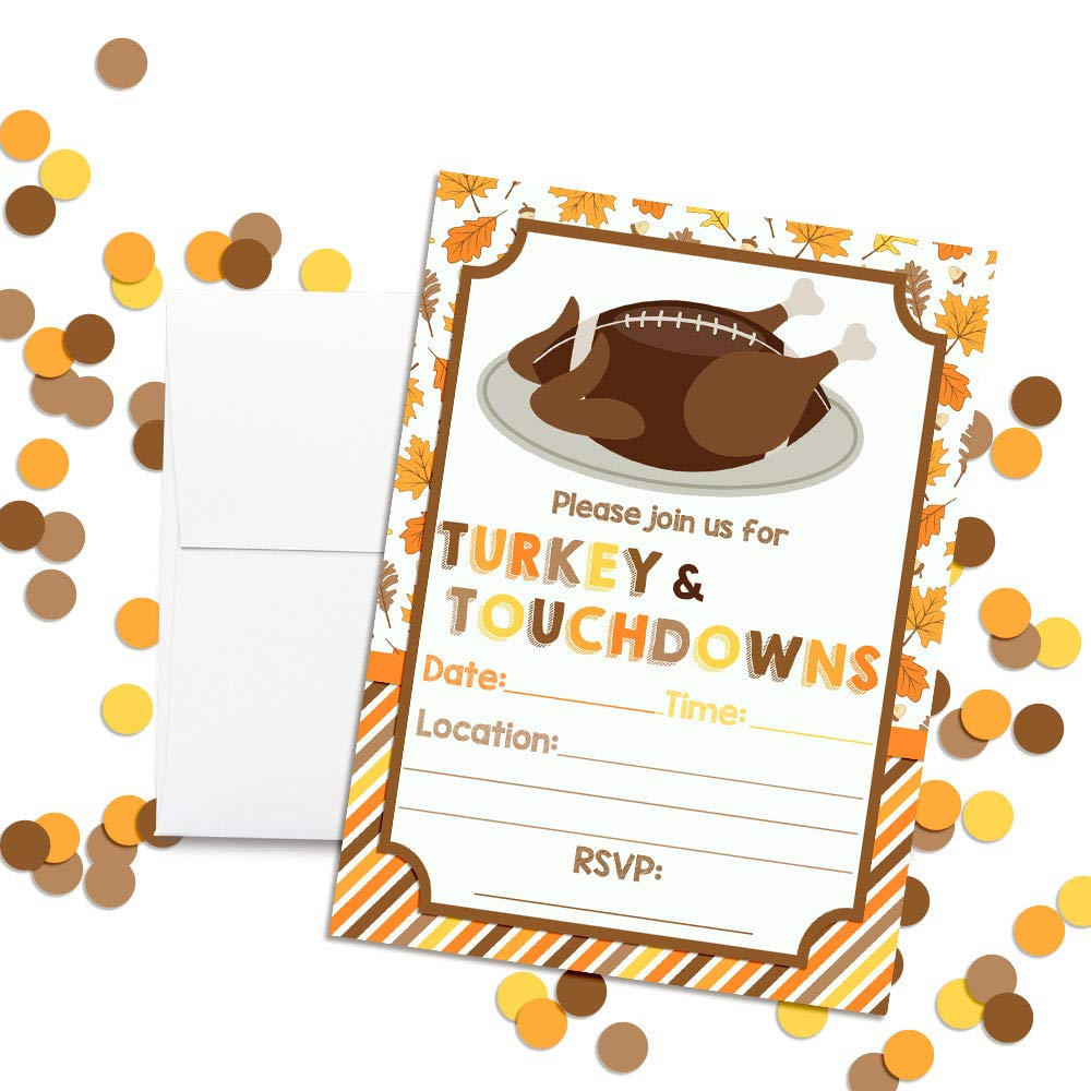 20 5x7 Fill in Cards with Twenty White Envelopes by AmandaCreation Touchdown Turkey Platter Thanksgiving Party Invitations