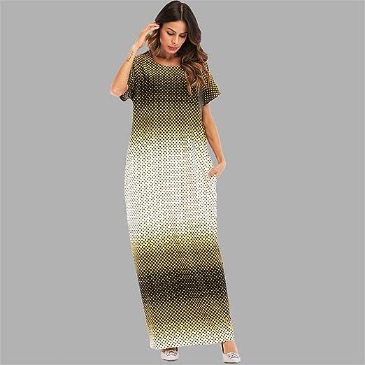 Cvbndfe Cómodo Bata Musulmana Vestido de Manga Corta Cuello Redondo Vestido Largo árabe Toga árabe Elegante (tamaño : XXL): Amazon.es: Hogar