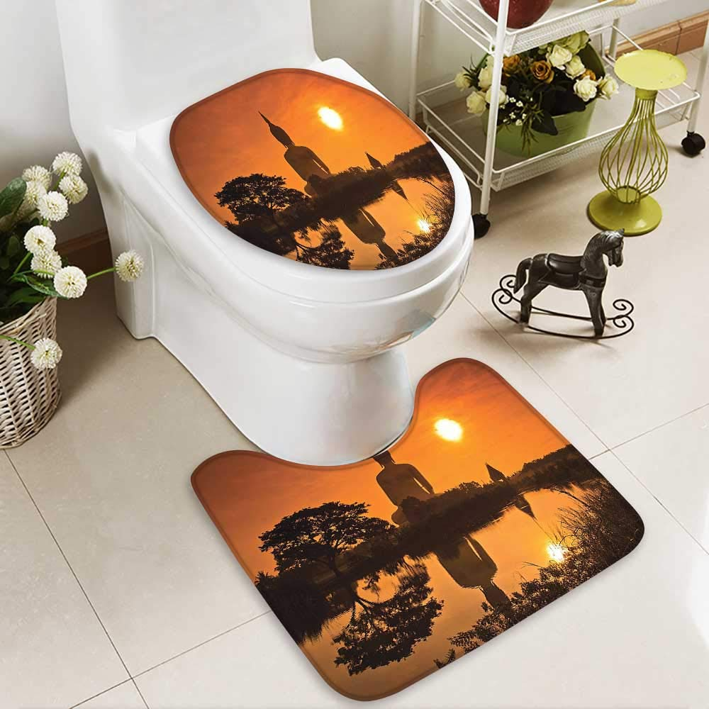 SOCOMIMI 2 Piece Bathroom Contour Rugs Big Giant Statue The River at Sunset Thai Asian Culture Scene Yin Anti-Slip Water Absorption by SOCOMIMI