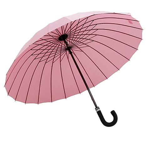 Guoke 24 Hueso Doble Extra Grande Y Soleado Sólido Paraguas Super Fuerte Viento Retro Chica Paraguas