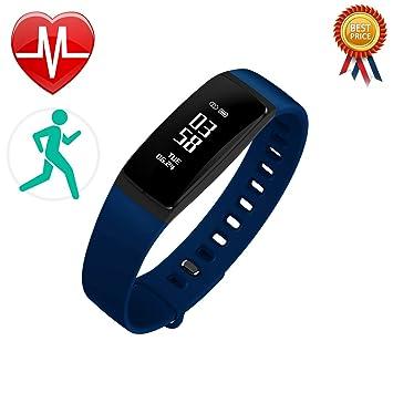 V07 Fitness pulseras con pulsómetro – Tensiómetro Medidor de frecuencia cardíaca podómetro, monitor Dormir,