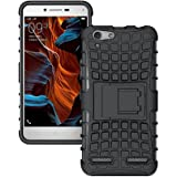 Fabson Back Cover for Vivo Y55L Back Cover Hybrid Kick Stand Case - Black