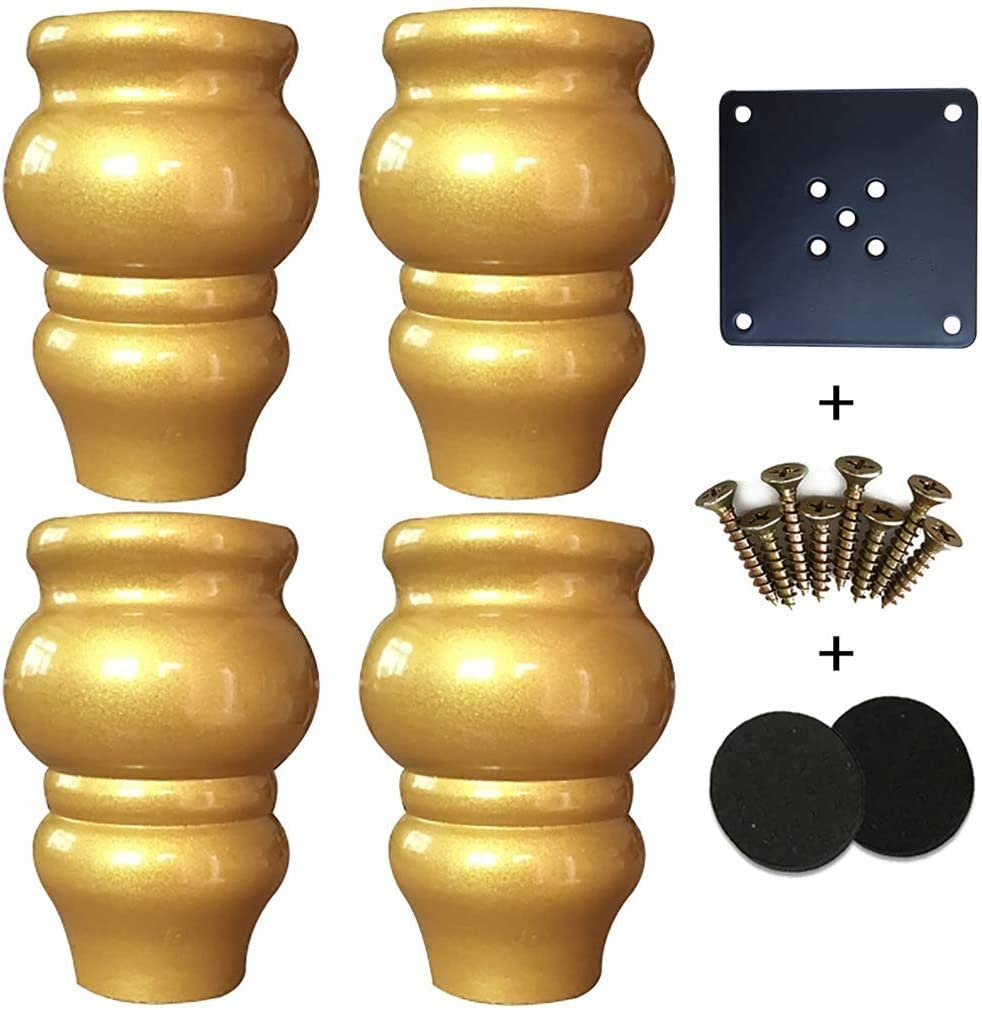 Furniture Legs Wooden, Set of 4, Round Finish, Gold, Modern Medieval Style, Suitable for Home Conversion Kits and Bed Legs.