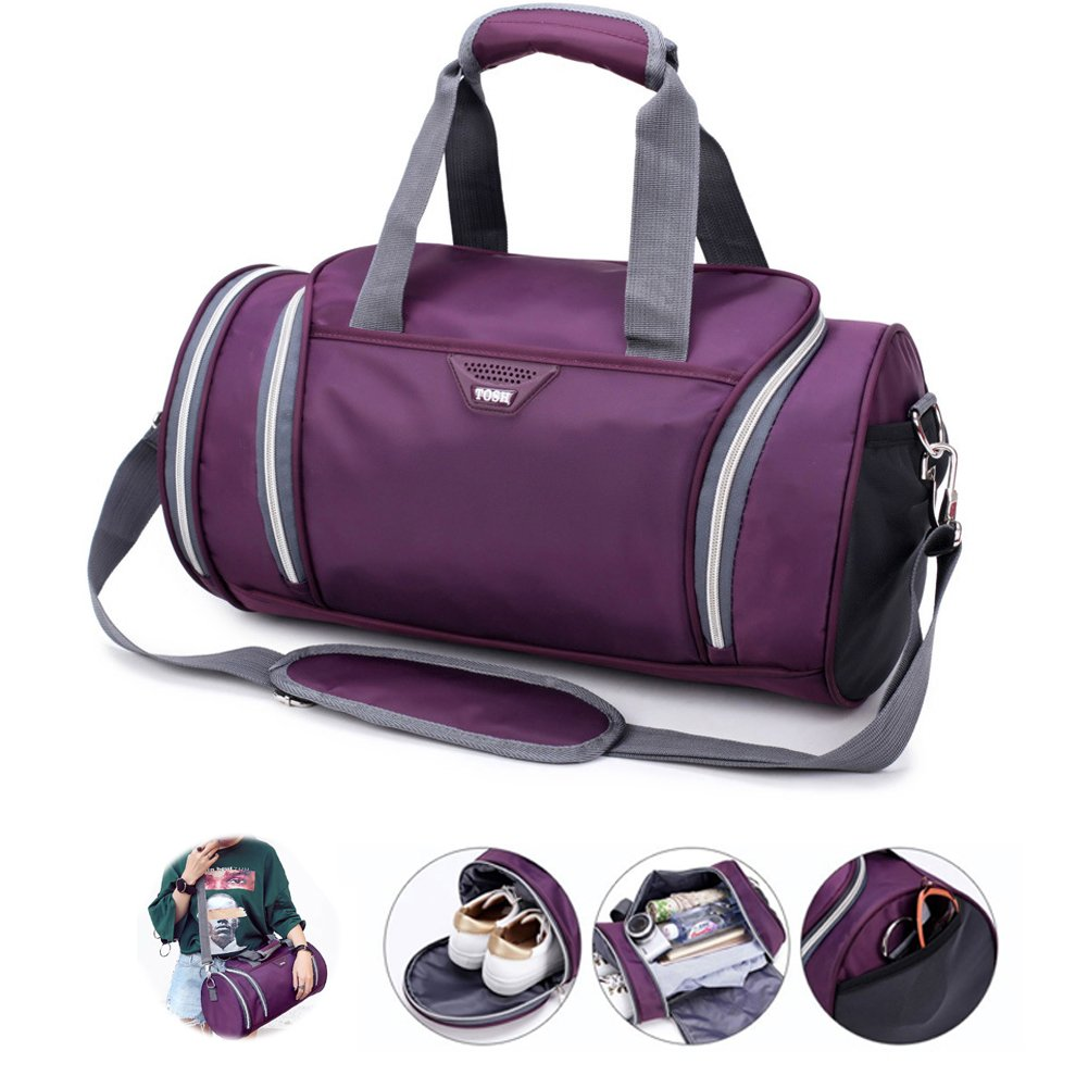 Gym Bag with Shoes Compartment Waterproof Handbag Sports Outdoor Travel Duffel Bag for Men & Women (Purple)