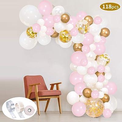 118Pcs Kit de guirnaldas con globos SPECOOL Kit de arcos de globos Rosa blanca y dorada Confeti Lleno de globos de látex Paquete con cinta de globos para cumpleaños Decoración de banquete de boda: Hogar