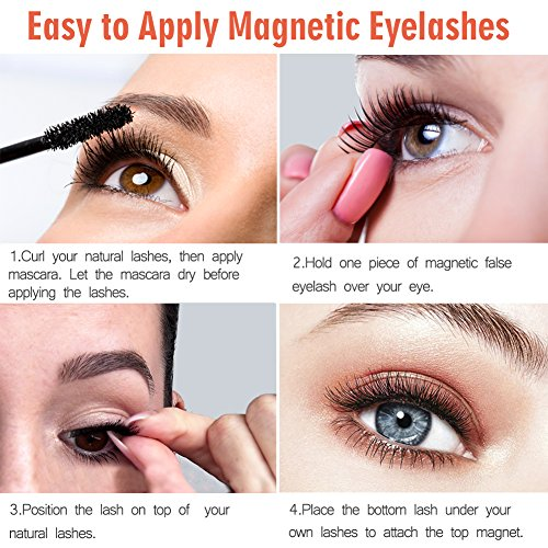 871bd8e9458 Amazon.com : Magnetic Eyelashes Premium, False Eyelashes No Glue 3D  Reusable, Magnetic Fake Eyelashes Extensions Natural Flawless Look-4pcs :  Beauty