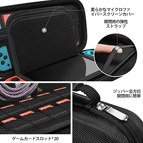 Carrying Case for Nintendo Switch Case with 2 Pack Screen Protector, iVoler Protective Portable Hard Shell Pouch Carrying Travel Game Bag for Nintendo Switch Console Accessories Hold 20 Game Cartridge