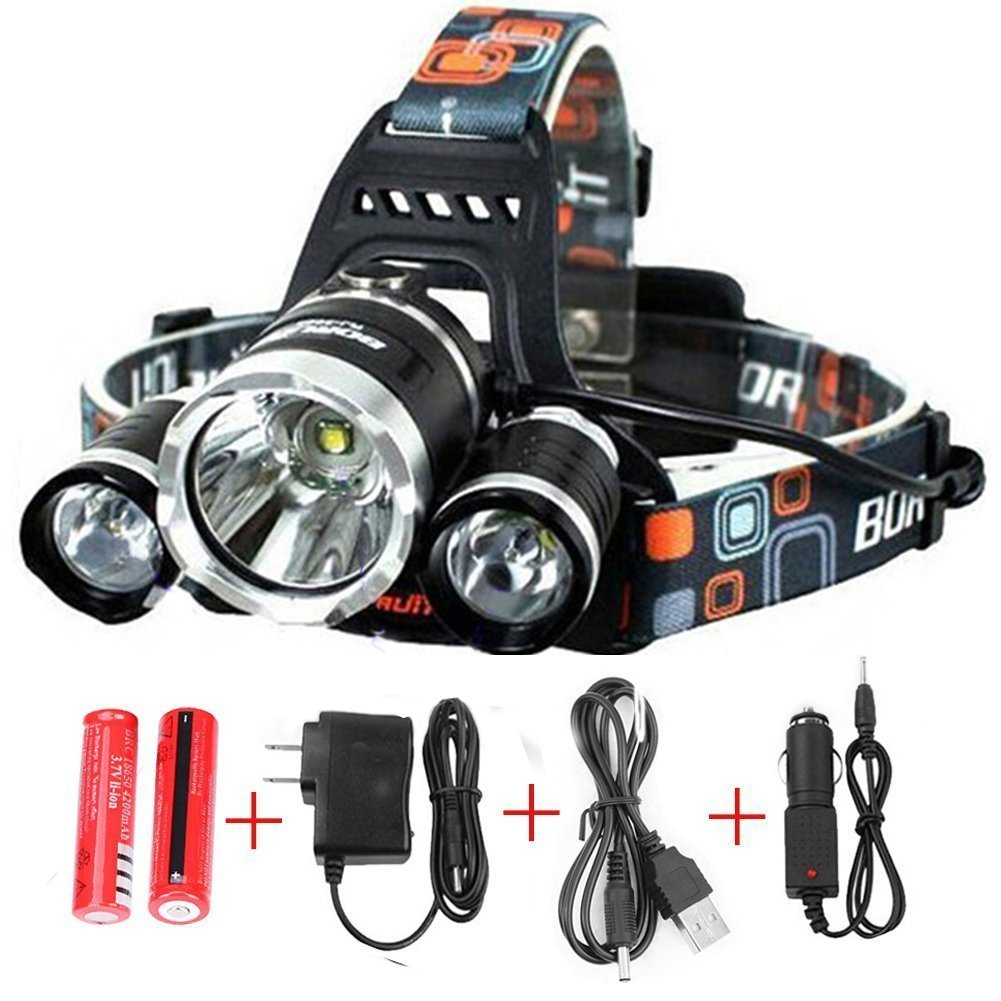Generic 6000 Lumens Headlamp LED Flashlight Bright Headlight Torch with Rechargeable Batteries and Wall Charger for Hiking Camping Riding Fishing Hunting