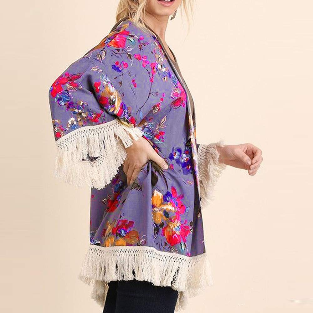 NUWFOR Womens Three Quarter Sleeve Floral Printed Shawl Tassel Kimono Cover Up Cardigan(Purple,L) by NUWFOR (Image #2)