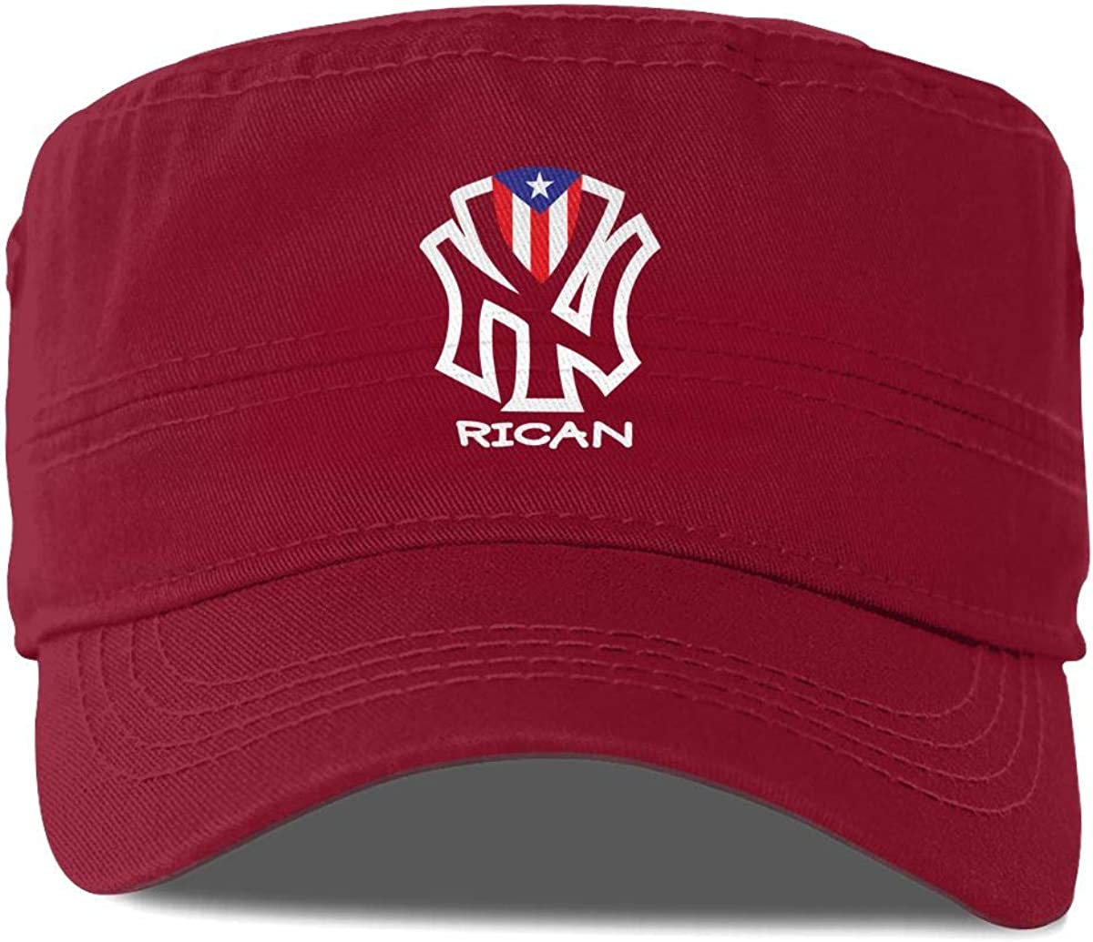 Puerto Rico Flag Unisex Adult Cotton Military Army Cap Flat Top Hat