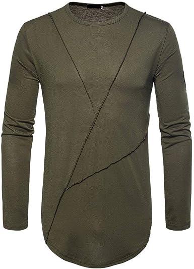 Camisas De Manga Larga De Los Hombres Diseño De Camisa Basic Algodón De Color Sólido De Ajuste Casual Camisa De Otoño De La Camiseta Básica De Color Sólido Tops: Amazon.es: Ropa y