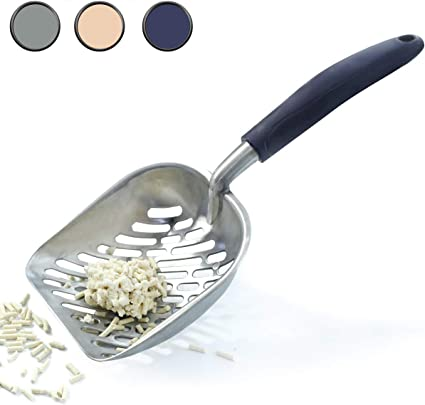 1PC Sifter with Deep Shovel and Ergonomic Handle Durable Metal Litter Scoop for Kitty Jumbo Size Made of Heavy Duty Solid Aluminum Vivaglory Cat Litter Scoop