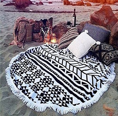 "cckiise Round Beach Throw Towel Mandala Tapestry Indian Yoga Mat Tassels Circle Beach Blanket 61"" Wall Hanging (black2)"
